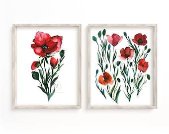 Poppy Watercolor Print Set of 2 by HippieHoppy