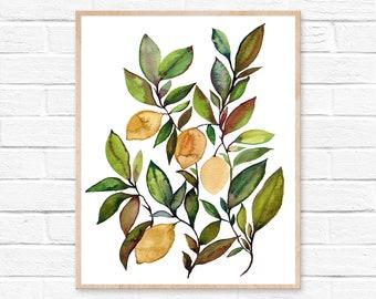 Lemon Print Watercolor Painting Kitchen Art