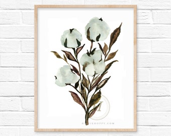 Cotton Stem Watercolor Print, Gift for Her, Cotton Art Print