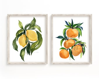 Large Lemon and Tangerine Watercolor Print Set of 2
