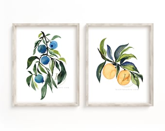 Blueberry and Orange Watercolor Prints set of 2