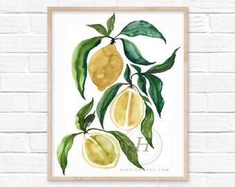 Lemons Watercolor Art Print