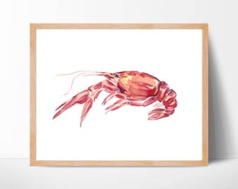 Crawfish Watercolor Print No.101, Crayfish Watercolor, Art, Animal, Illustration, Sea Art, Sea Life Art, Nautical, Ocean Art, Nautical Decor