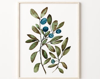 Wild Blueberries Watercolor Print Kitchen Art