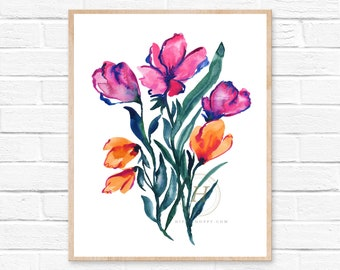 Watercolor Flower Print, Wall Art by Hippiehoppy