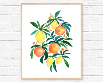 Orange and Lemon Watercolor Print