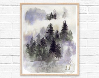Winter Forest Pine Tree Watercolor Evergreen Tree Forest Printable Wall Art