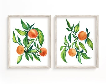Orange Watercolor Prints Set of 2 Watercolor Paintings