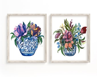Flowers in Jar Watercolor Art Print Set of 2