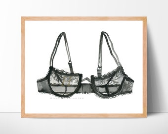 Bra print Fashion Illustration print Victoria's Secret fashion poster bedroom decor fashion watercolor beauty print fashion decor bras art
