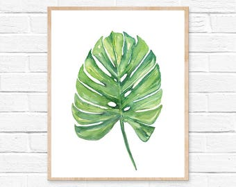 Watercolor Monstera Leaf Art Print No.101, Tropical Plant Wall Art, Monstera Painting, Modern Boho Botanical Wall Art, Modern Wall Art Decor