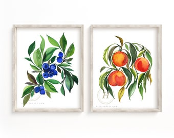 Blueberry and Peaches Prints Set of 2, Watercolor Wall Art