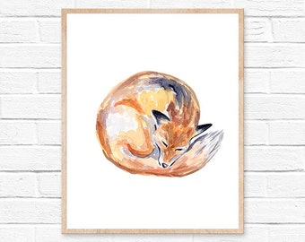 fox watercolor fox art fox painting fox print fox fox illustration fox wall art fox watercolour watercolor print watercolor painting animals