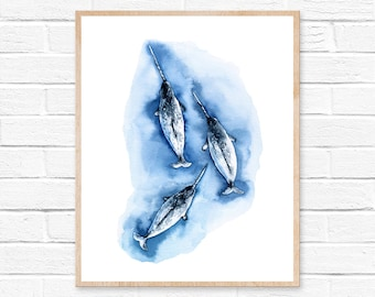 Whale Print, Watercolor narwhal art, Home decor