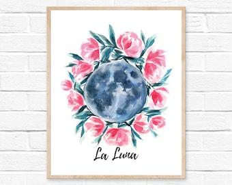 moon print la luna watercolor moon watercolor moon wall art la luna print moon wall art full moon moon art moon painting painting watercolor