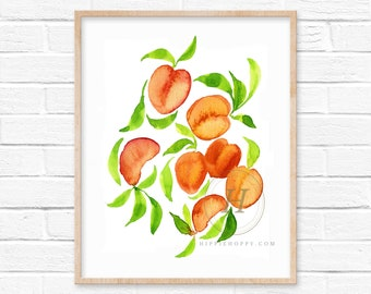 Peaches Watercolor Print Kitchen Wall Art by HippieHoppy