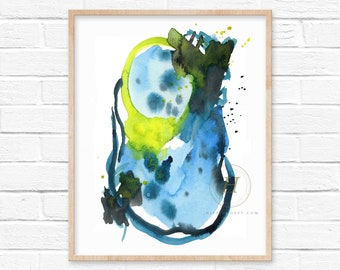 Abstract Watercolor Print Yellow and Blue Watercolor Painting