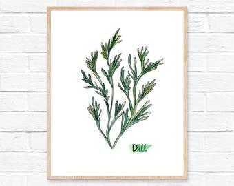 Dill Watercolor Print