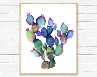 Cactus decor, Cactus print, Colorful cactus art, Botanical print, Watercolor wall art, Succulent art, Art prints, Cactus wall art
