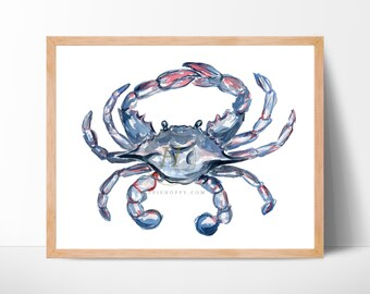 beach beach decor kitchen decor home decor nautical decor blue ocean bathroom decor nautical watercolor original watercolor crab coastal art