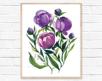 Flower Print, Watercolor Flowers Purple, Wall Art