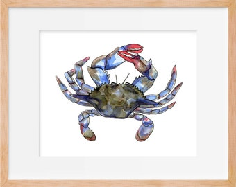 Maryland Crab 102 Print Blue Crab Costal Wall Art Costal Wall Decor Art Beach House Decor Beach Nautical Decor Beach House Wall Art Coastal