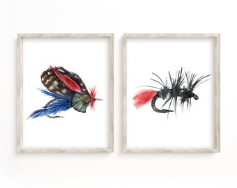 Fly Fishing Hooks Watercolor Print Set of 2