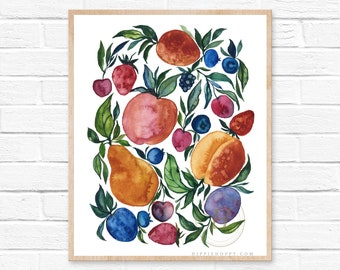 Large Fruit Watercolor Print by HippieHoppy