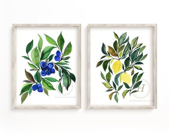 Blueberries and Lemons Watercolor Art Prints Set of 2 by HippieHoppy