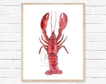 Watercolor Crawfish, Lobster, Nautical Painting, Wall Art Print - Art Drawing Watercolor Print
