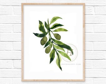 Olive Branch Watercolor Print
