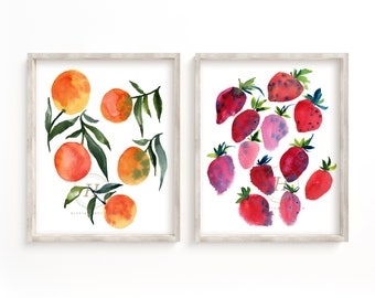 Orange and Strawberry Prints Watercolor Set of 2