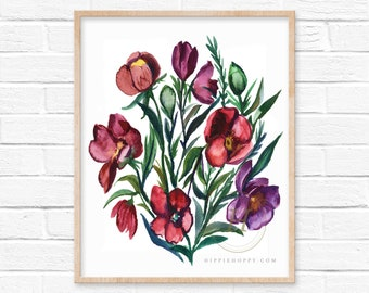 Large Flowers Watercolor Art Print Wall Decor by HippieHoppy
