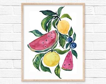 Fruit Art Print Kitchen Wall decor