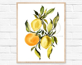 Citrus Watercolor Print