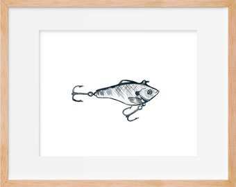 Fishing Hook Watercolor Print