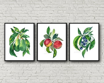 Avocado Apple Blueberry Watercolor prints Set of 3