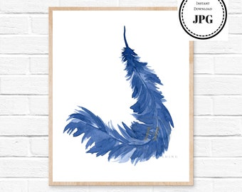 Blue Feather Print Feathers Watercolor Painting Abstract Living Room Decor Baby Boy Shower Gift Nursery Kids Wall Print