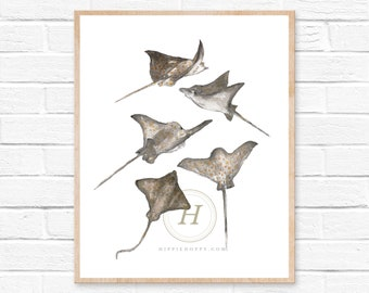 Spotted Eagle Ray Print, Watercolor fish painting, Wall art
