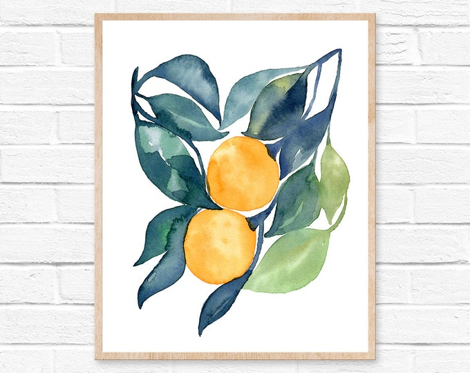 Featured listing image: Kitchen Wall Art Orange Art Print  Orange Illustration Fruit Prints Oranges Kitchen Art Watercolor Oranges Citrus Decor Print Fruit Oranges