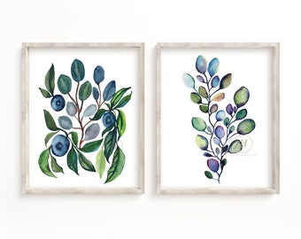 Eucalyptus and Blueberries Art Prints Set of 2