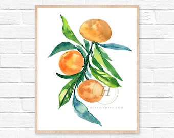 tangerine orange watercolor painting art wall art home decor original art watercolor painting watercolor print tangerines art clementine art