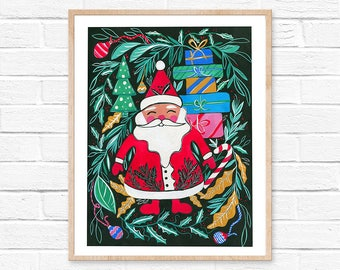 Christmas Santa Print Christmas Print Christmas Wall Art Christmas Decor Christmas Decorations Christmas Painting Santa Art Folk Art Santa