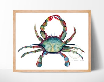 Large Crab Watercolor Print by HippieHoppy