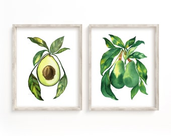 Avocado Set of 2 Watercolor Print