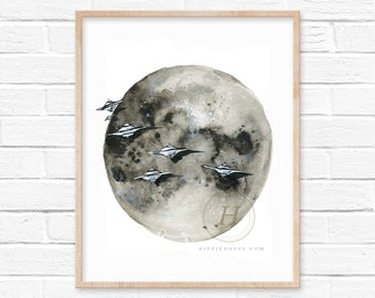 Moon Alien Watercolor Print Celestial Art UFOs