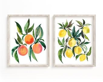 Oranges and Lemons Prints Set of 2, Watercolor Art, Fruit Decor