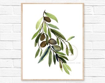 Olive Tree Watercolor Print