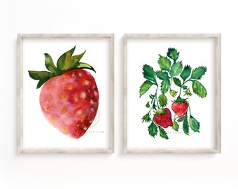 Strawberry Kitchen Decor set of 2