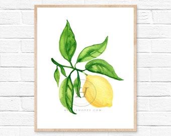 Lemon Print, Large Print, Watercolor Lemons, Kitchen Art